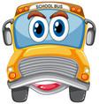 yellow school bus with big eyes carton character vector image