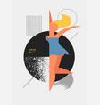 young happy dancing geometric stylized girl vector image
