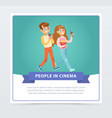 young man and woman in 3d glasses with popcorn vector image vector image