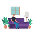 young man in the livingroom avatar character vector image vector image