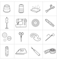 Set of sewing tools icons vector image