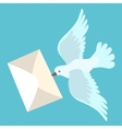 White carrier pigeon brings a letter vector image