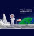 american astronaut standing on moon alongside vector image vector image