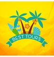 Banner with the inscription best tours palm trees vector image