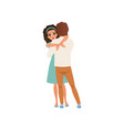 beautiful brunette woman hugging her man embraces vector image vector image