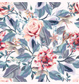 beautiful seamless vintage pattern pink roses vector image vector image