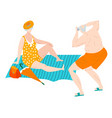 body positive fat eldery man and woman in vector image vector image