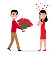 cartoon man gives flowers to a woman vector image vector image