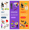charity donation funding banner vecrtical set 3d vector image vector image