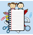 Children with a notebook with space for writing vector image vector image