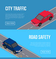 city traffic flyers with cars in road vector image vector image