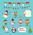 collection christmas characters vector image