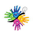 colorful hands together icon vector image