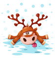 crazy cute deer merry christmas happy new year vector image vector image
