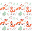 cute foxes in winter forest seamless pattern vector image vector image