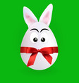 cute rabbit egg character with green background vector image vector image