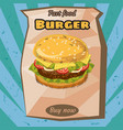 delicious juicy burger with ingredients in a vector image