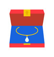 diamond necklace in box jewelry related icon flat vector image vector image