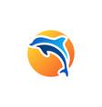 dolphin fish jumping sunset logo symbol icon vector image