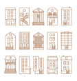 flat thin line city buildings set vector image vector image