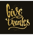 Give Thanks Hand drawn phrase in golden style vector image vector image