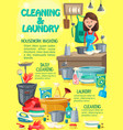 home cleaning and laundry washing service vector image vector image