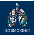 human lungs symbol composed flat medical icons vector image vector image