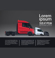 infographic set of cargo truck trailer vehicle vector image