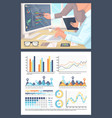 infographics and pie diagrams working on research vector image vector image