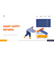 man loader pushing trolley with luggage vector image