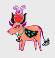 marker drawing of egyptian goddess hathor - cow vector image vector image