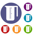 measuring cup icons set vector image vector image