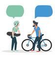 Mens talk with speech bubbles
