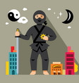 ninja in the night city flat style vector image