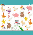 one a kind game for children with cartoon farm vector image