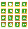 origami icons set green square vector image vector image