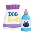pets package food dog and veterinary medicine vector image