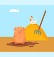 pig and domestic hen on hay vector image vector image