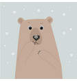 polar bear with snow flake on his nose vector image