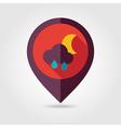 Rain Cloud Moon flat pin map icon Weather vector image vector image