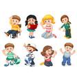 set cute children character vector image