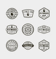 set of vintage fitness gym logos vector image