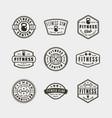 set vintage fitness gym logos vector image