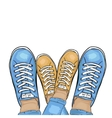 Summer trendy sports shoes Feet in sports shoes vector image vector image