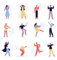 virtual reality characters people in augmented vector image vector image