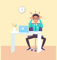 worker working in office vector image