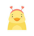 yellow duckling wearing a headband with heart vector image