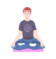 young man doing yoga guy sitting on floor in vector image vector image