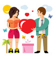 romantic couple give love valentines day vector image