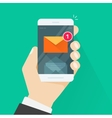New email message notification on mobile phone vector image